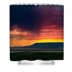 Storm Clouds Over Square Butte Shower Curtain