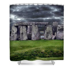 Storm Clouds Over Stonehenge Shower Curtain by Anthony Dezenzio