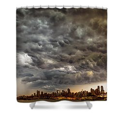 Storm Coulds Over Nyc Shower Curtain by Jerry Fornarotto