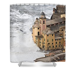 Shower Curtain featuring the photograph Storm In Camogli by Antonio Scarpi