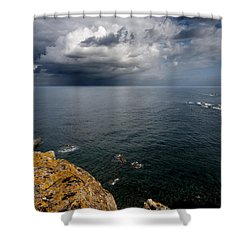 A Mediterranean Sea View From Sa Mesquida In Minorca Island - Storm Is Coming To Island Shore Shower Curtain