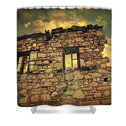 Storm Of Time Shower Curtain by Taylan Apukovska