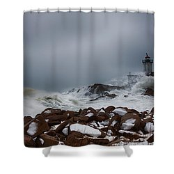 Storm Off Eastern Point Lighthouse Shower Curtain