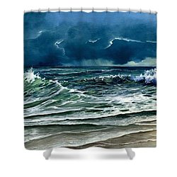 Shower Curtain featuring the painting Storm Off Yucatan Mexico by Lynne Wright