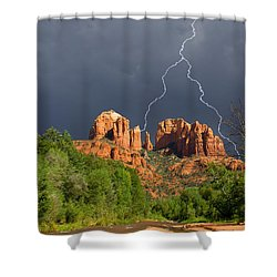 Storm Over Cathedral Rock Shower Curtain by Alexey Stiop