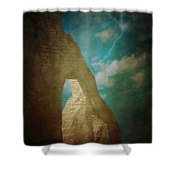 Storm Over Etretat Shower Curtain by Loriental Photography