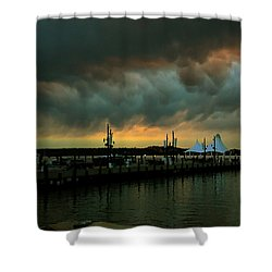 Storm Over National Harbor Oil Shower Curtain