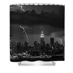 Storm Over Nyc  Shower Curtain by Jerry Fornarotto