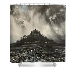 Shower Curtain featuring the painting Storm Over St Michaels Mount Cornwall by Jean Walker