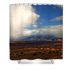 Storm Over The La Sals Shower Curtain by Mike  Dawson