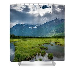 Storm Over The Mountains Shower Curtain by Andrew Matwijec