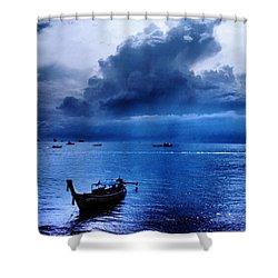 Storm Rolls Over The Sea Shower Curtain by Kaleidoscopik Photography