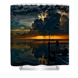 Sunset Tropical Storm And Watcher In Florida Keys Shower Curtain
