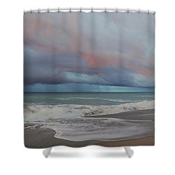 Shower Curtain featuring the painting Storms Comin' by Mim White