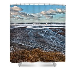 Stormy Beach Shower Curtain by Mike Santis