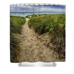 Stormy Beach Shower Curtain by Sebastian Musial