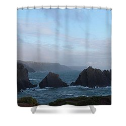 Hartland Quay Storm Shower Curtain by Richard Brookes