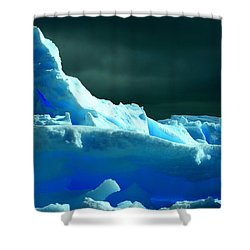 Shower Curtain featuring the photograph Stormy Icebergs by Amanda Stadther