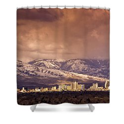 Stormy Reno Sunrise Shower Curtain