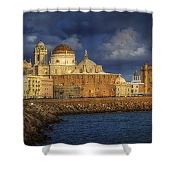 Stormy Skies Over The Cathedral Cadiz Spain Shower Curtain