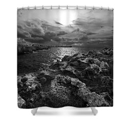 Blank And White Stormy Mediterranean Sunrise In Contrast With Black Rocks And Cliffs In Menorca  Shower Curtain