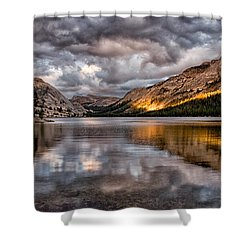 Stormy Sunset At Tenaya Shower Curtain by Cat Connor