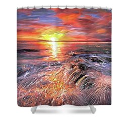Stormy Sunset At Water's Edge Shower Curtain by Angela A Stanton