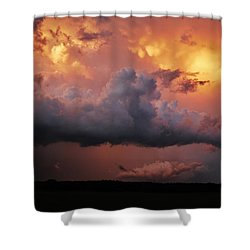 Shower Curtain featuring the photograph Stormy Sunset by Ed Sweeney