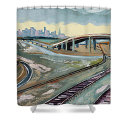 Stormy Train Tracks And San Francisco  Shower Curtain