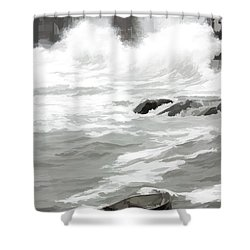 Shower Curtain featuring the photograph Stormy Waves Pound The Shoreline by Jeff Folger