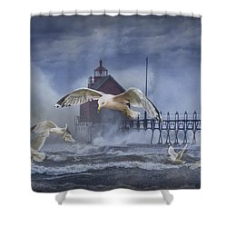 Stormy Weather At The Grand Haven Lighthouse Shower Curtain by Randall Nyhof
