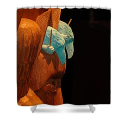Shower Curtain featuring the photograph Story Pole by Cheryl Hoyle