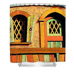 Storybook Window And Door Shower Curtain by Rodney Lee Williams