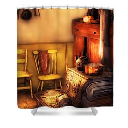Stove - An Old Farm Kitchen Shower Curtain by Mike Savad