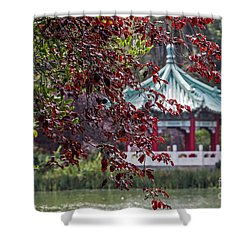 Shower Curtain featuring the photograph Stow Lake Pavilion by Kate Brown