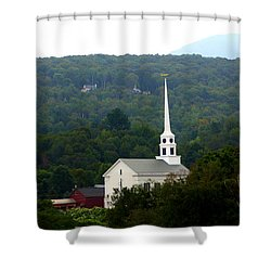 Stowe Community Church Shower Curtain by Patti Whitten