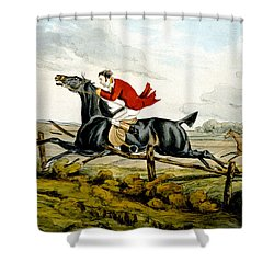 Straight Through The Fence From Qualified Horses And Unqualified Riders Shower Curtain by Henry Thomas Alken