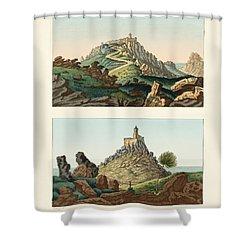 Strange Abbeys In Portugal Shower Curtain by Splendid Art Prints