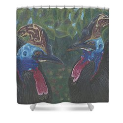 Shower Curtain featuring the drawing Strange Birds by Arlene Crafton
