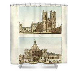 Strange Buildings In London Shower Curtain by Splendid Art Prints