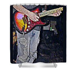 Strat Man  Shower Curtain by Chris Berry
