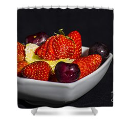 Strawberries And Cream Shower Curtain by Brian Roscorla