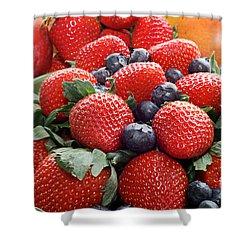 Strawberries Blueberries Mangoes - Fruit - Heart Health Shower Curtain by Andee Design
