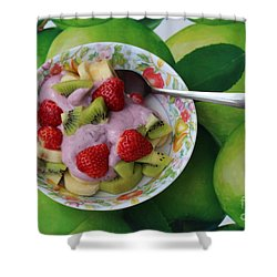Strawberries Kiwi Banana Yogurt - Fruit - Dessert - Food Shower Curtain by Barbara Griffin