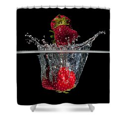 Strawberries Splashing In Water Shower Curtain by Mike Santis