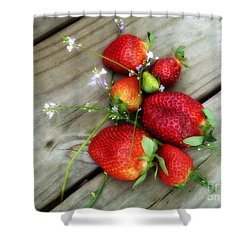 Strawberrries Shower Curtain by Valerie Reeves