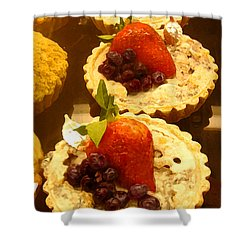 Strawberry Blueberry Tarts Shower Curtain by Amy Vangsgard