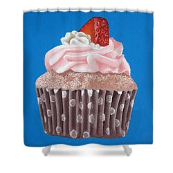Strawberry Cupcake Shower Curtain by Kayleigh Semeniuk