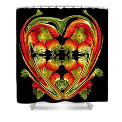Strawberry Heart Shower Curtain
