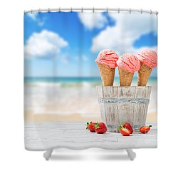 Strawberry Ice Creams Shower Curtain by Amanda Elwell